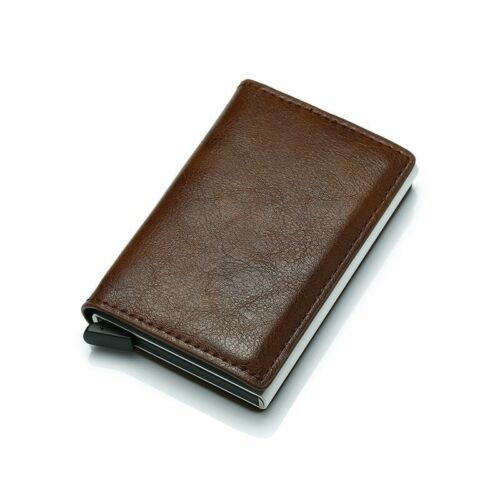 NEW Leather Wallet Anti Wallet Men Money Bag Slim Mini Purse Male Aluminium