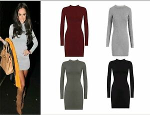 Ladies-Women-Ribed-turtle-Neck-Long-Sleeve-Stretch-Ribbed-Jumper-Bodycon-Dress
