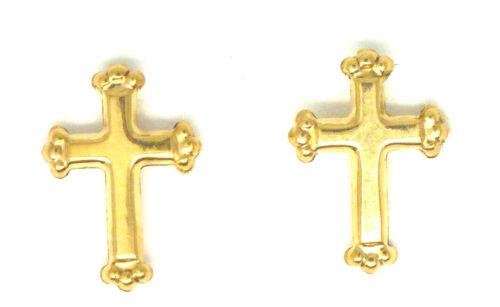De 9 quilates de oro amarillo pequeña Cruz Aretes 6082