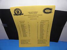 NHL Boston Bruins vs Montreal Canadiens 9-26-95 The Last Hurrah @ Garden Insert