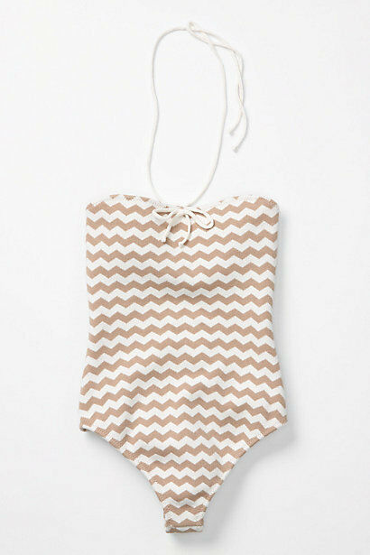 NWT  Anthropologie Zigzags Maillot Luxurous Onepiece Swimsuit Size S M L