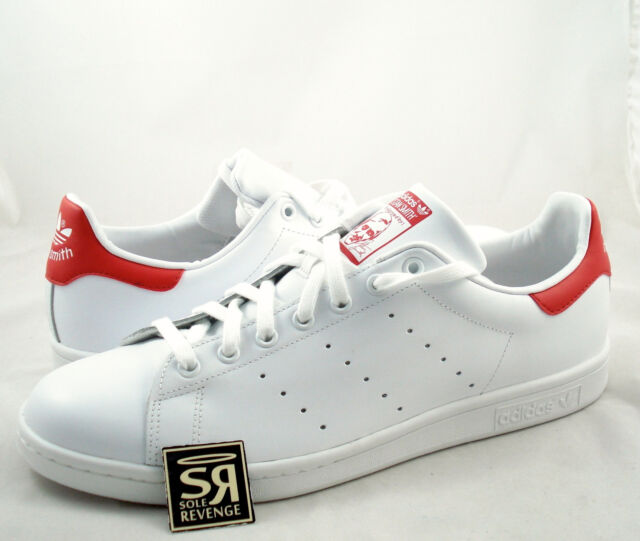 best service 5ae64 0ccbb New adidas Originals Men's Stan Smith Shoes White/Red M20326