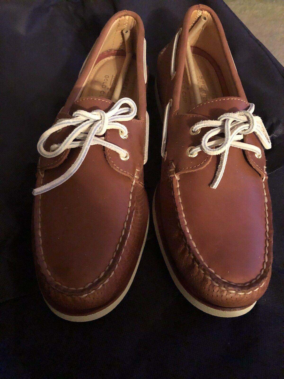 Men's Sperry Top Sider Gold Cup A/O Perforated Boat Shoes Brown Size 12