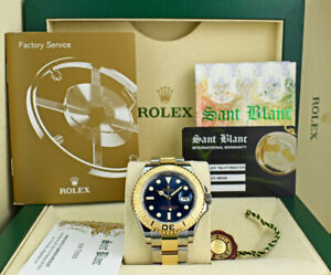 ROLEX-REHAUT-Mens-18kt-Gold-amp-Stainless-Yachtmaster-Blue-Dial-16623-SANT-BLANC