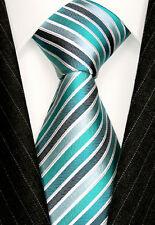 84381 LORENZO CANA -  Marken Krawatte 100% Seide Silber Grau Weiss Grün Neck Tie