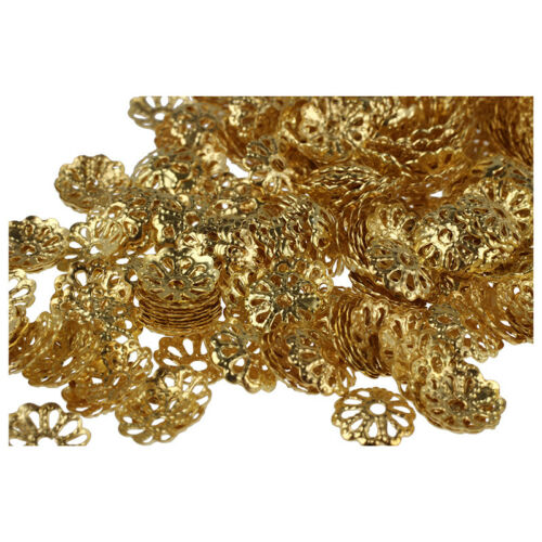 500pcs 6mm Gold Tone Flower Bead Caps for Jewelry Making U3H6 PF