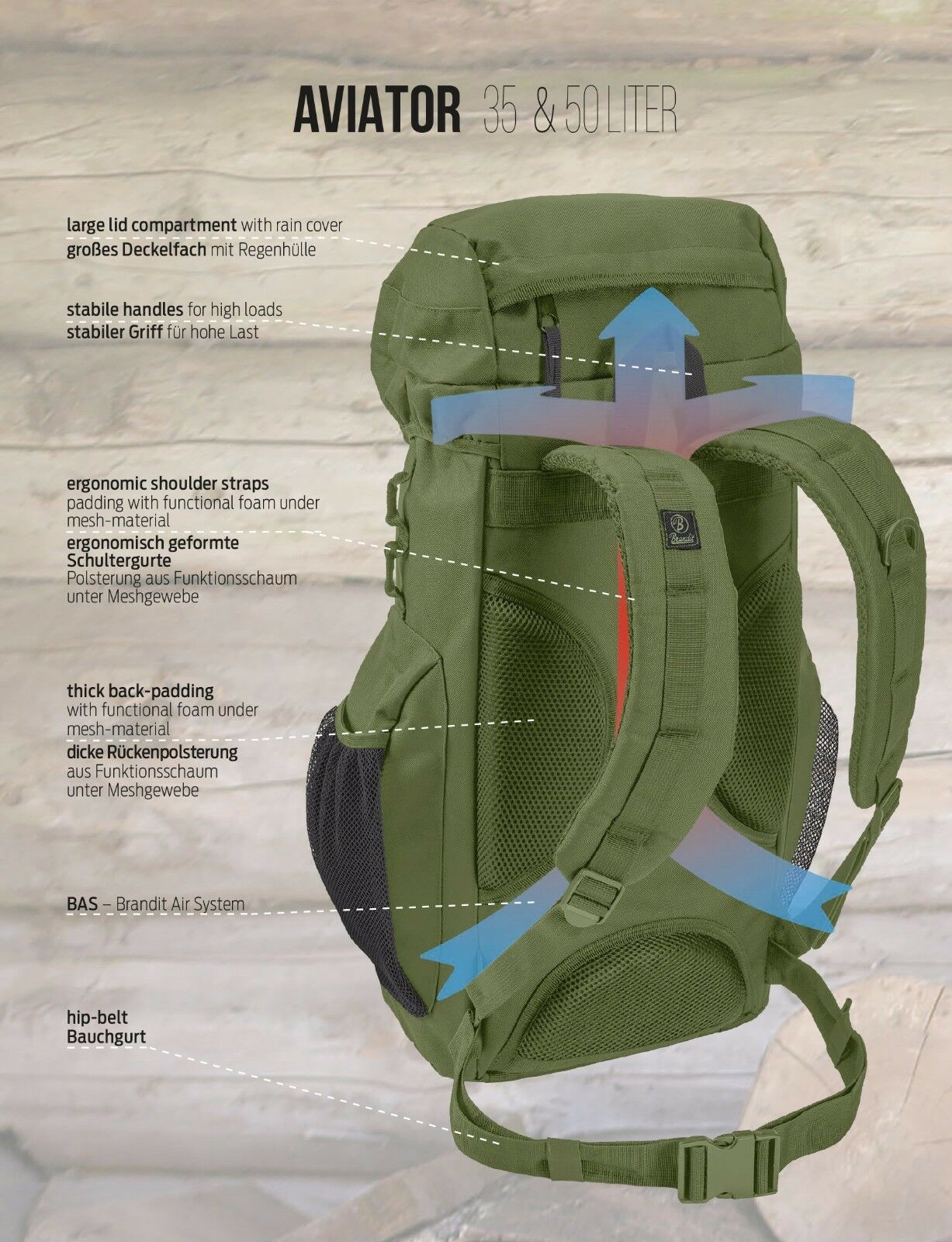 Brandit® Aviator 35L Padded Tactical Military Outdoor Waterproof Waterproof Waterproof Bag - Olive faa755