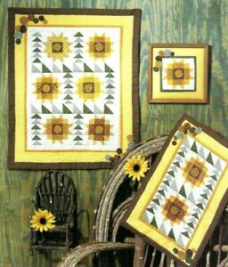 CELEBRATION-OF-SUNFLOWERS-Wall-Hanging-Quilt-Pattern-by-Four-Corners-VTG-OOP