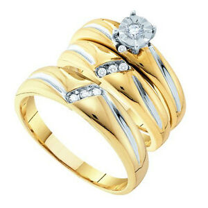diamond 15 carat 3ring bridal 10K gold engagement wedding band