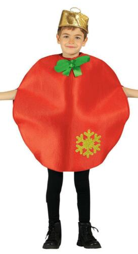 CHILDS RED CHRISTMAS TREE BAUBLE DECORATION FANCY DRESS COSTUME