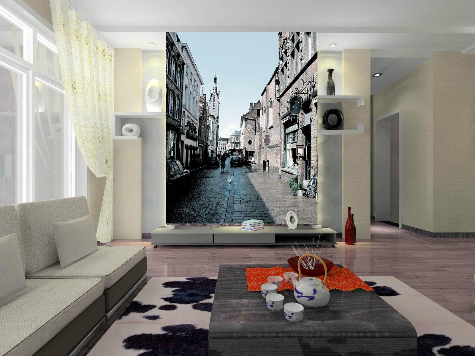 3D Ville Ruelle 181 Photo Papier Peint en Autocollant Murale Plafond Chambre Art