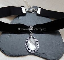 Classic Black Velvet Choker/Necklace Clear Cabochon Gothic Wedding/Bridesmaid UK