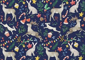 A1-Christmas-Animal-Poster-Art-Print-60-x-90cm-180gsm-Deer-Rabbit-Gift-15386