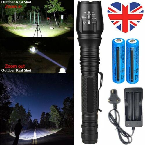 3PCS 990000LM Ultra Brightest Flashlight T6 LED 5 Modes Zoomable Torch+Batt+Char