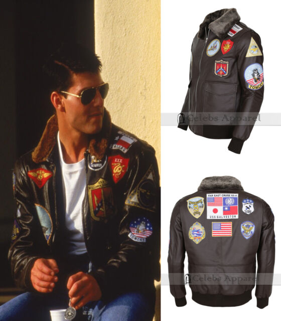 772c3f0c4 Tom Cruise Pete Maverick Top Gun Bomber Brown Aviator Flight Jet Pilot  Jacket