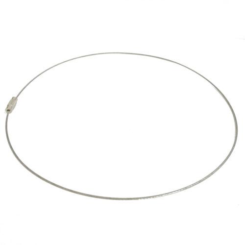 Halsreif cuerda de acero inoxidable con cierre de giro color acero inoxidable 44cm nenad-Design