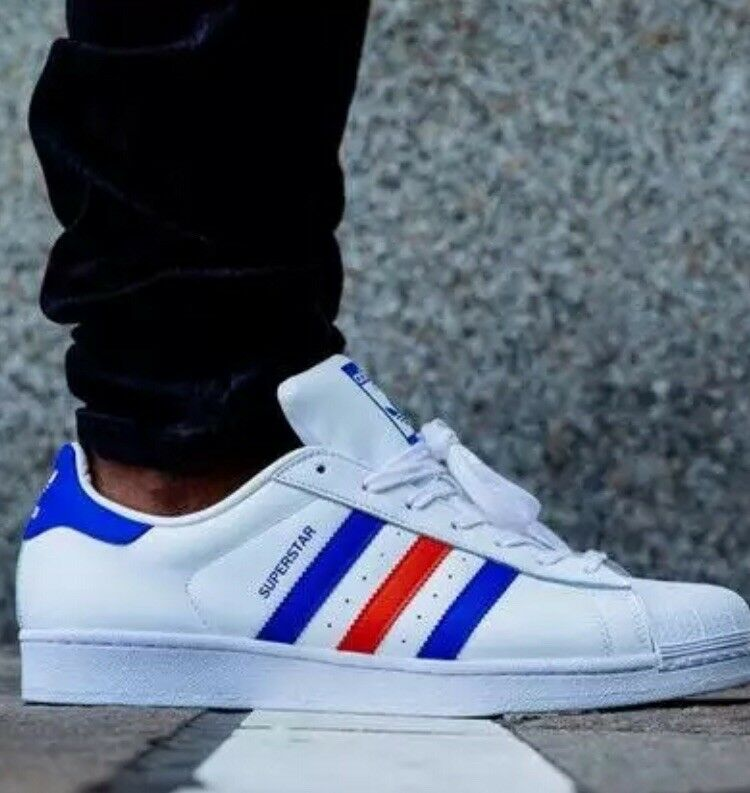 MENS ADIDAS ORIGINALS SUPERSTAR LEATHER TRAINERS - UK SIZE 6.5 - WHITE blueE RED.