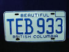 """VINTAGE """"Beautiful BRITISH COLUMBIA"""" """"TEB 933"""" Automobile LICENSE PLATE TAG ID"""