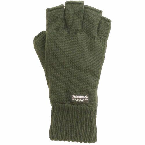 Thinsulate Unisex Fingerlose Handschuhe Schwarz Grün Thermal