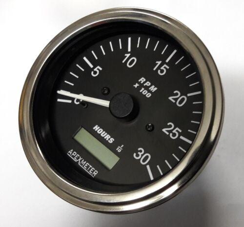 12V C Tachometer//Hourmeter 0-3000 RPM Alternator Chrome Bezel