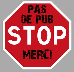 pas de publicite pub merci stop boite a lettres 7 5cm autocollant sticker pc004 ebay. Black Bedroom Furniture Sets. Home Design Ideas