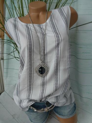 Sheego Damen Bluse Shirt Viskose Gr. 46 Kurzarm weiß gestreift (073)  NEU