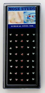 SURGICAL-STEEL-NOSE-BONE-SET-5-HEART-NOSE-STUDS-CZ-STRAIGHT-NOSE-PIN-STUD