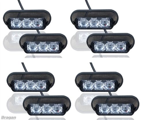 8 x Amber Strobe Flashing LED Lights Recovery Truck Breakdown Lorry Lamps