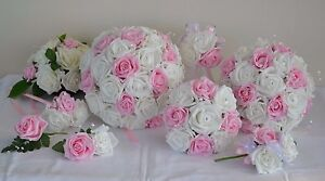 PINK-amp-ivory-white-wedding-bouquet-posy-flowers-bridesmaid-bride-buttonholes