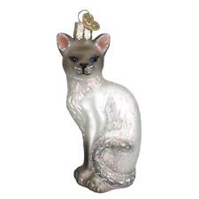 GRAY SIAMESE KITTY CAT OLD WORLD CHRISTMAS GLASS FELINE BREED ORNAMENT NWT 12243