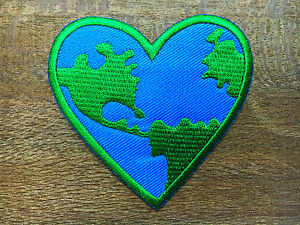 New-Heart-Earth-Save-The-World-Love-Planet-Logo-Peace-Applique-Iron-on-Patch