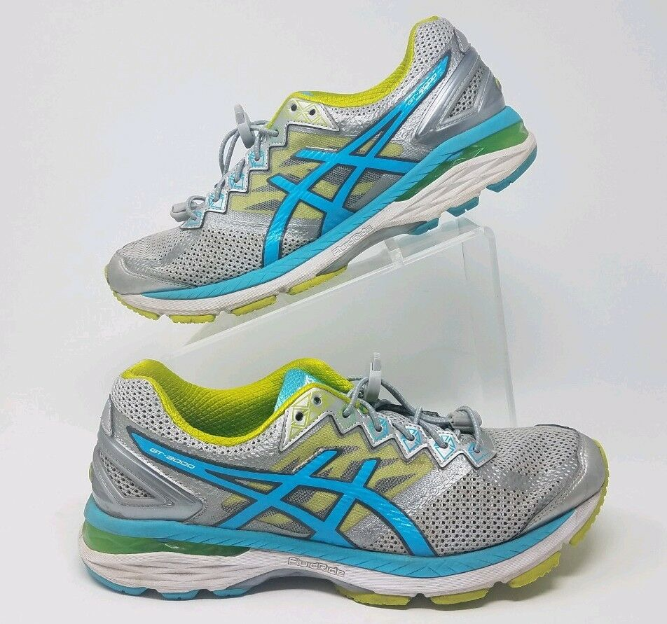 Asics Women's GT-2000 v4 Silver Turquoise Lime Punch T659N Sz 10