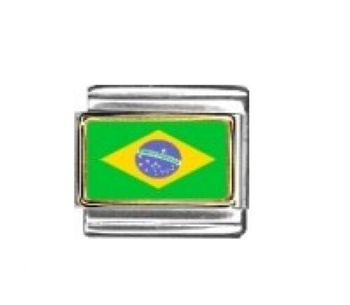 Bandera de Brasil encanto italiano-se adapta a 9mm clásico italiano pulseras