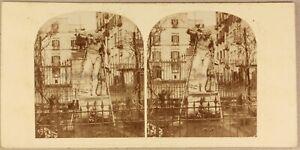 Italia-Napoli-Villa-Reale-Soprammobile-c1860-Foto-Stereo-Vintage-Albumina