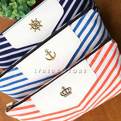 New Navy Style Canvas Economic Cosmetic Glasses Bag Pen Pencil Case Fashion Cute