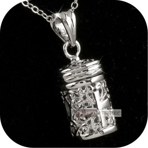 18k white gold GF treasure box filigree pendant openable lady fashion necklace
