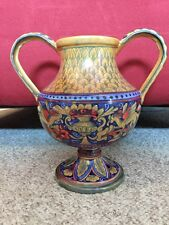 Antique Vtg Italian Italy Maiolica Majolica 2 Handle Urn Vase Old Signed P.P.