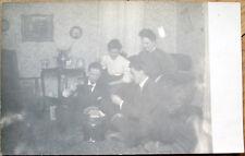 1905 Gambling Realphoto Postcard: Men Playing Cards & Smoking Cigars w/Women
