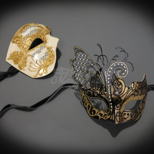 M331BG Gold Masquerade Ball Mask Couple M2601A Couples Masquerade Mask