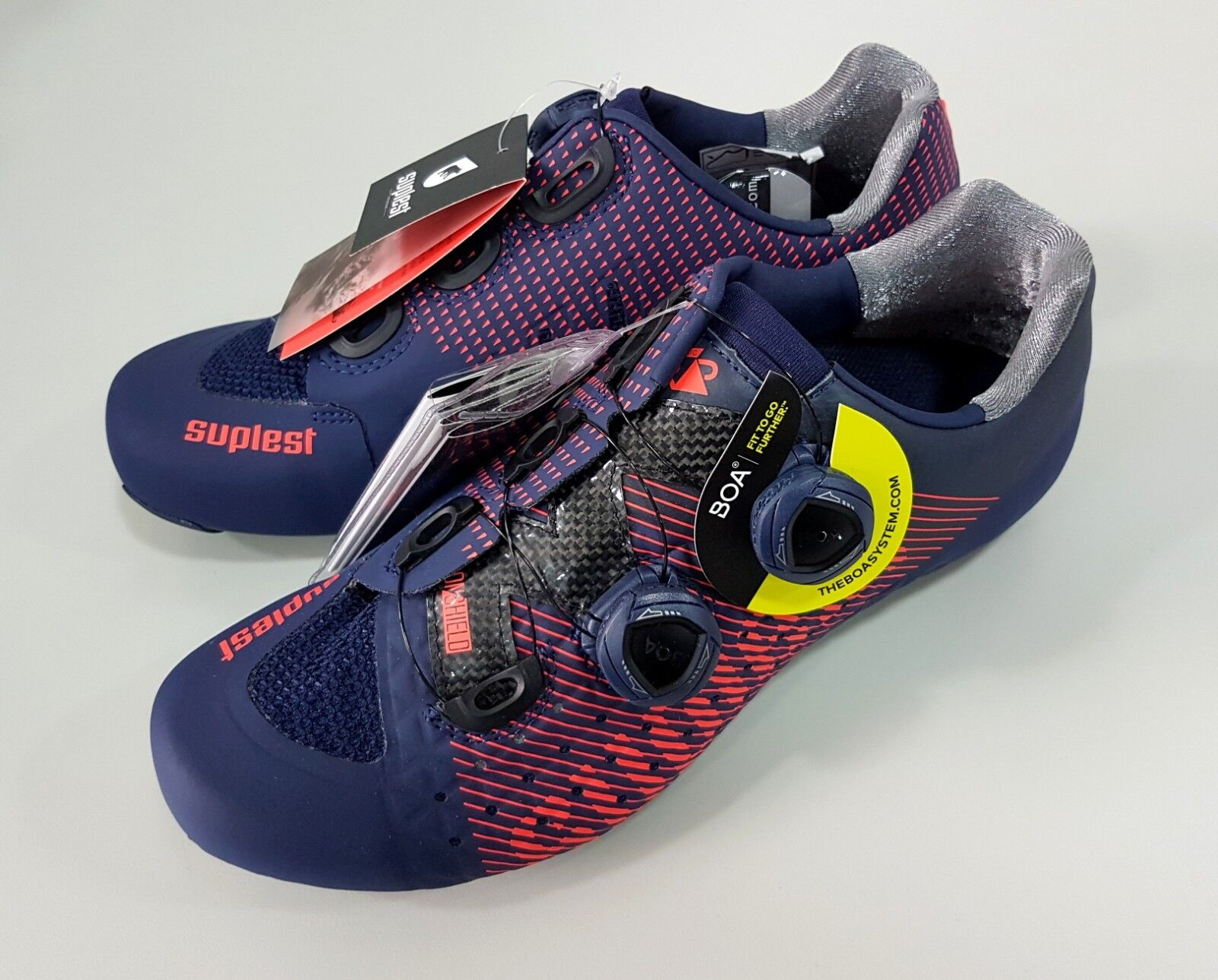 Suplest Edge 3 Pro Road Carbon Bicycle Cycling shoes  Size 43.5 Navy Coral  all products get up to 34% off