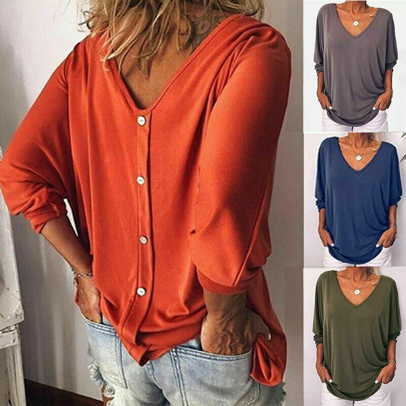 Women Loose 3/4 Sleeve Back Buttons T Shirts Plus Size V Nec