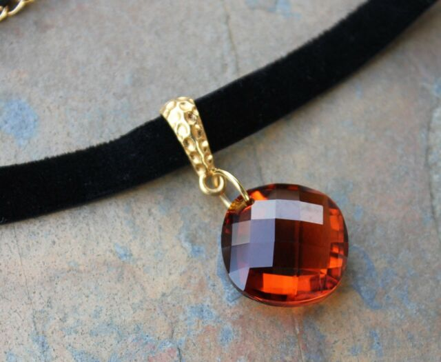 Cognac Brown Crystal + Black Velvet Choker Necklace- Gold Accent- Fall Colors