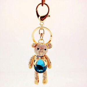 Blue-Gemstone-Bear-Diamante-Rhinestone-Bag-Charm-Handbag-Pendant-Keyring-Chain
