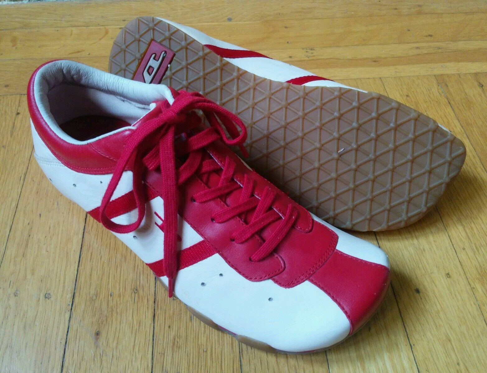 DIESEL EVELYN US 8.5 rose & rouge LEATHER FASHION baskets CASUAL chaussures TRAINERS