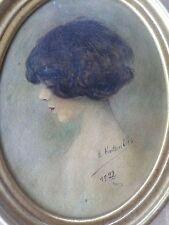 École française-Peinture-Portrait Femme-1922-Art-Deco-cadre ovale-painting