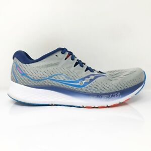 Saucony Mens Ride ISO 2 S20514-1 Gray Blue Running Shoes Lace Up Size 10