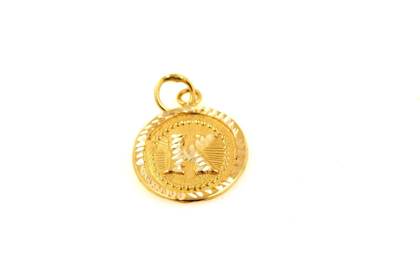 22k 22ct Solid gold Charm Letter K Pendant Oval Design p1477 ns