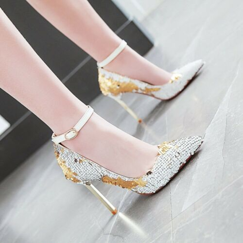 Details about  /Women/'s Sequins Glitter High Heels Pointed Toe  Ankle Strap Fashion Pumps Shoes