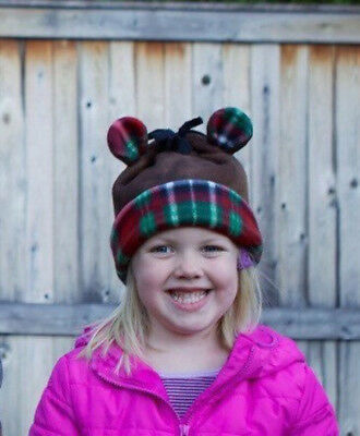 100% Quality Free Shipping! Handmade Child Winter Hat - Brown Bear W/ Red Plaid Fleece Lining Refreshing And Enriching The Saliva