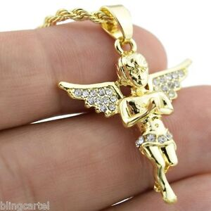 Micro-Angel-Iced-Wings-Pendant-Hip-Hop-Chain-Gold-Finish-24-034-Inch-Rope-Necklace